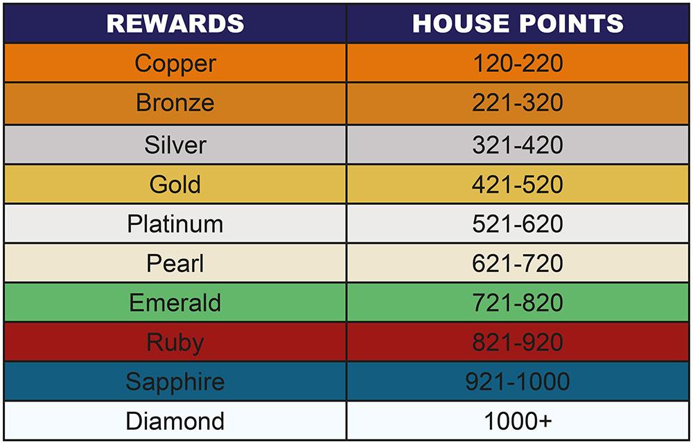 Rewards Points Table