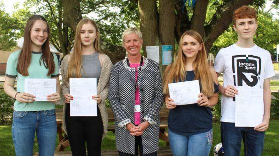 GCSE Results Day 2017 - Lottie Ash, Ashling James, Ms L Croke, Elyse Marshall, Charlie Clark
