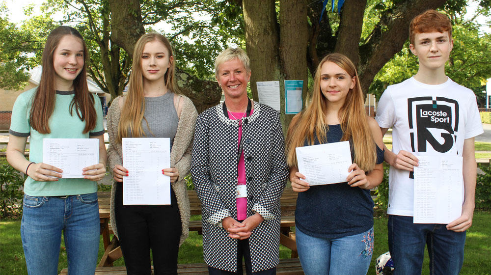 GCSE Results Day 2017 - Lottie Ash, Ashling James, Ms L Croke, Elyse Marshall, Charlie Clark