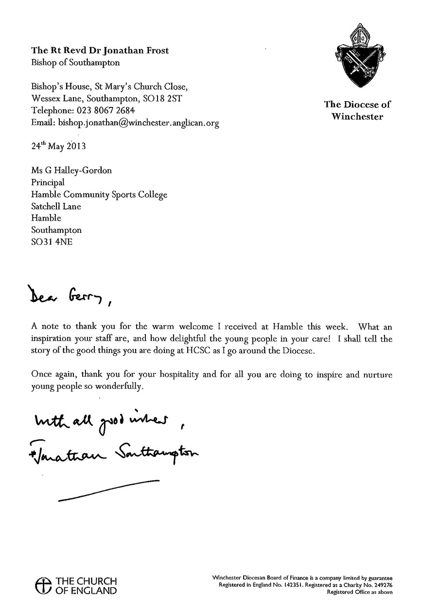 Letters of Praise – The Hamble School