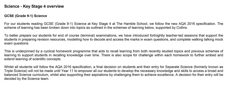 Science – The Hamble School
