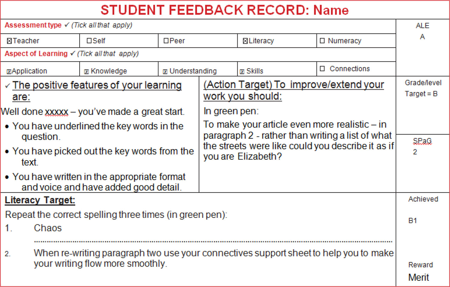 Student Feedback Record