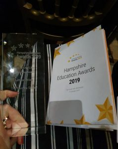 Congratulations to Mrs Brick who won the award for 'Improving Life Chances' at the Hampshire Education Awards for 2019.